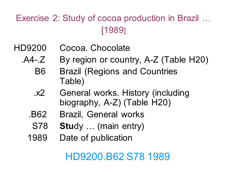 Exercise 2: Study of cocoa production in Brazil … [1989]